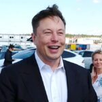 Elon Musk taling to media at Gigafactory Berlin on his visit to Germany.