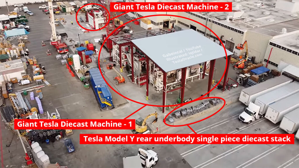 Tesla Fremont factory drone video shows the giant casting machines possibly already producing Model Y rear underbody single piece castings.