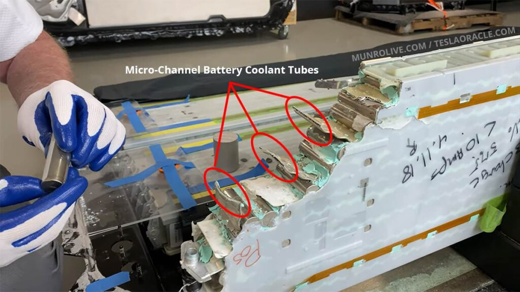 Battery coolant channels in a 2170 cell battery pack in a Tesla.