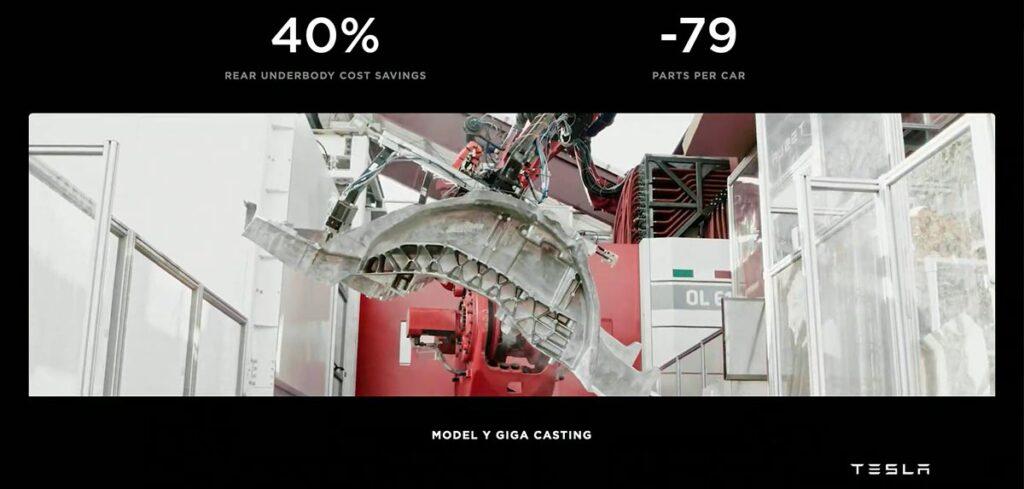 Model Y Giga Casting: 40% cost reduction, -79 parts per car.