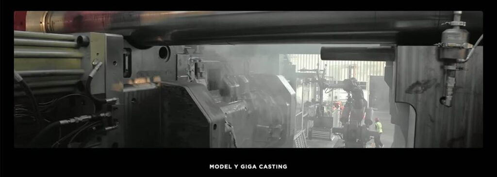 Inside view of the world's largest casting machine, the Tesla Giga Casting for Model Y at the Fremont factory. Source: Tesla (TSLA).