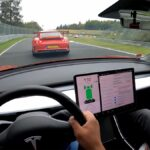 Modified Tesla Model 3 Performance racing at the Nürburgring track (video).