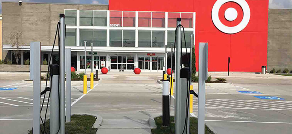 Electric Vehicle charging stalls at a Target store location.