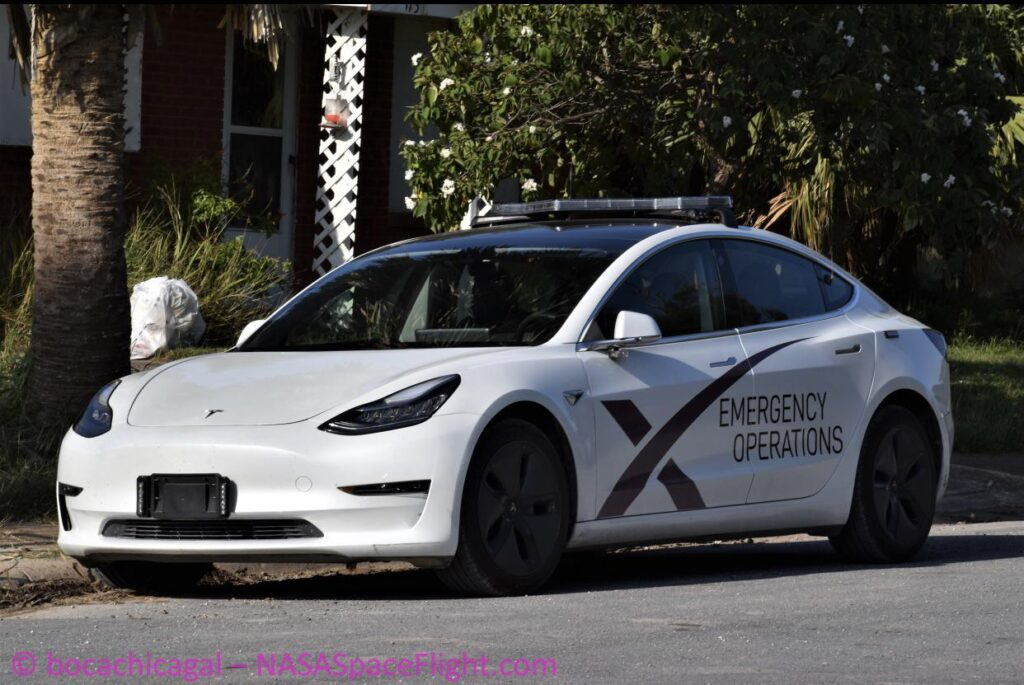 SpaceX Emergency Operations Tesla Model 3.