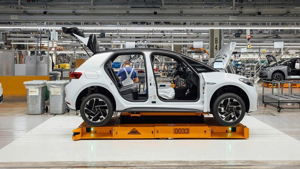 VW ID.4 electric SUV at the German automaker's Zwickau manufacturing facility.