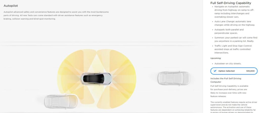 Tesla online car configurator now shows the Autopilot FSD price at $10,000.