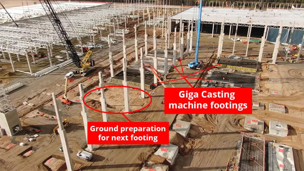Giga casting footings at Gigafactory Berlin.