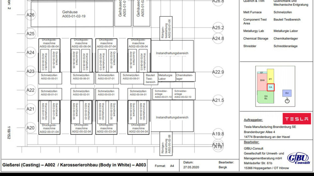 Tesla Giga Berlin Giga Casting floor plan diagram.