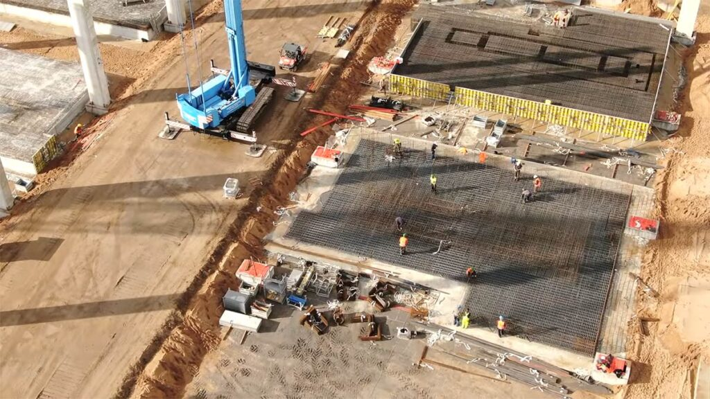 Reinforcement steel cage work being carried out on Giga Casting machine footings at Giga Berlin as of 10/18/2020.