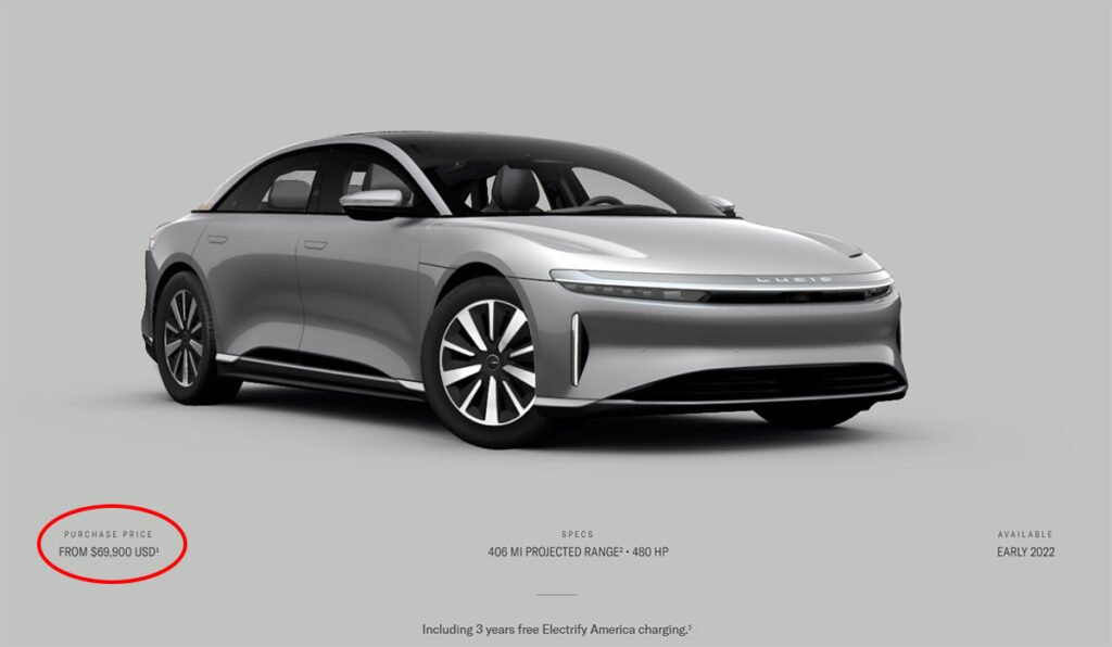 Lucid Air car configurator screenshot highlighting the car's price, features, and availability.