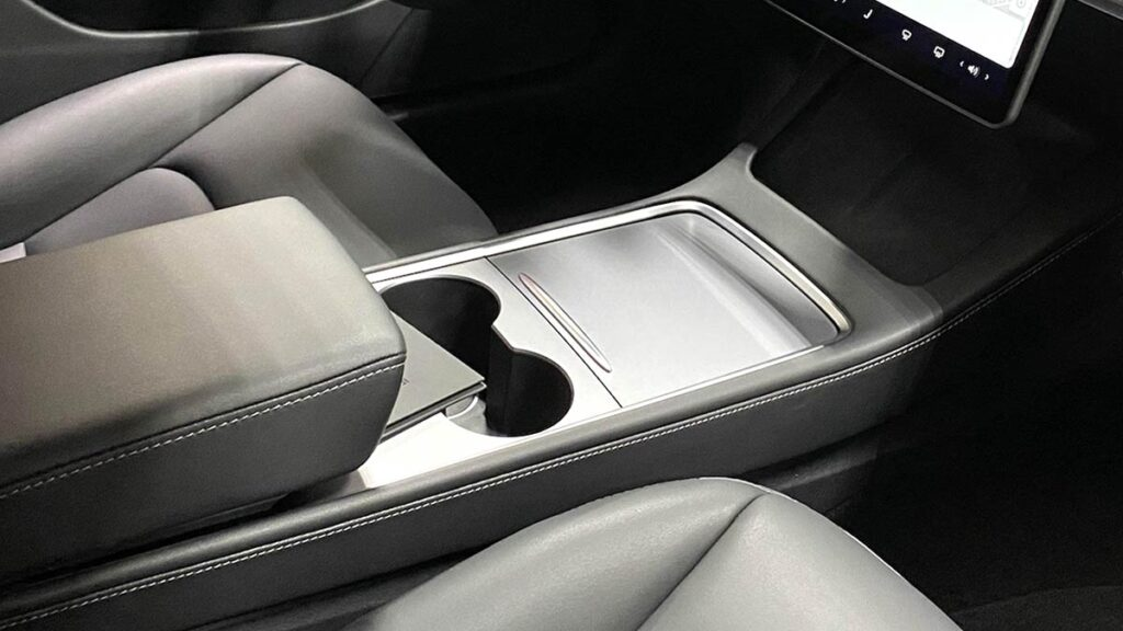 The updated Tesla Model 3 center console.
