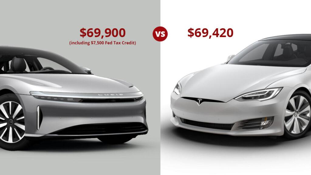 Tesla Model S vs. Lucid Air price comparison.