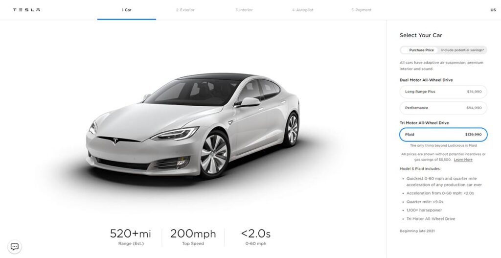 Tesla Model S Plaid prototype pre-order page screenshot.