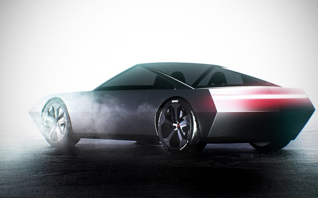 Tesla Cyber Roadster concept design (rear view).