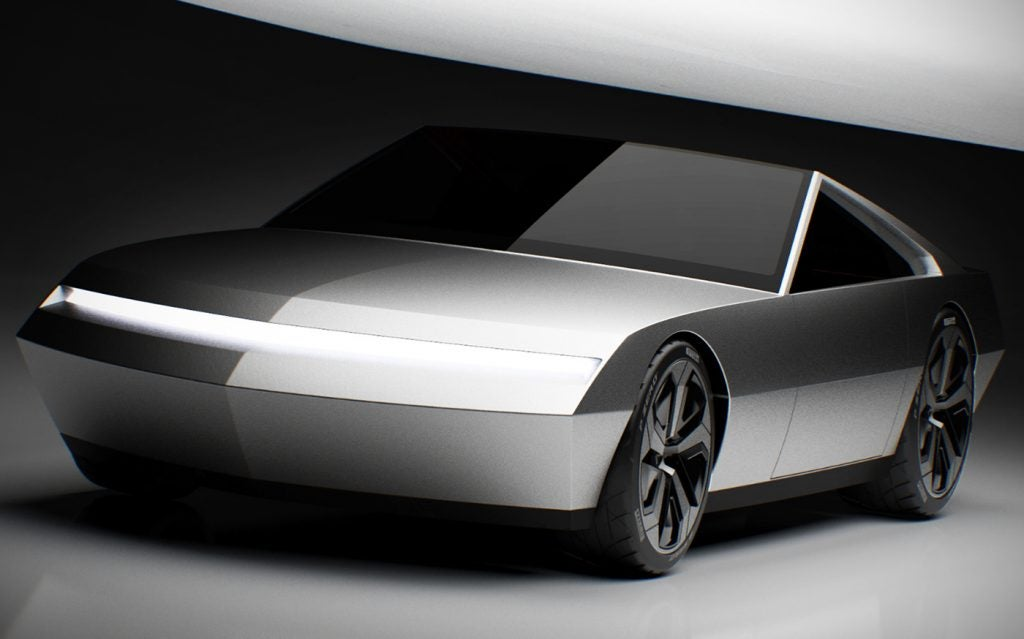 Tesla Cyber Roadster concept design (font side view).