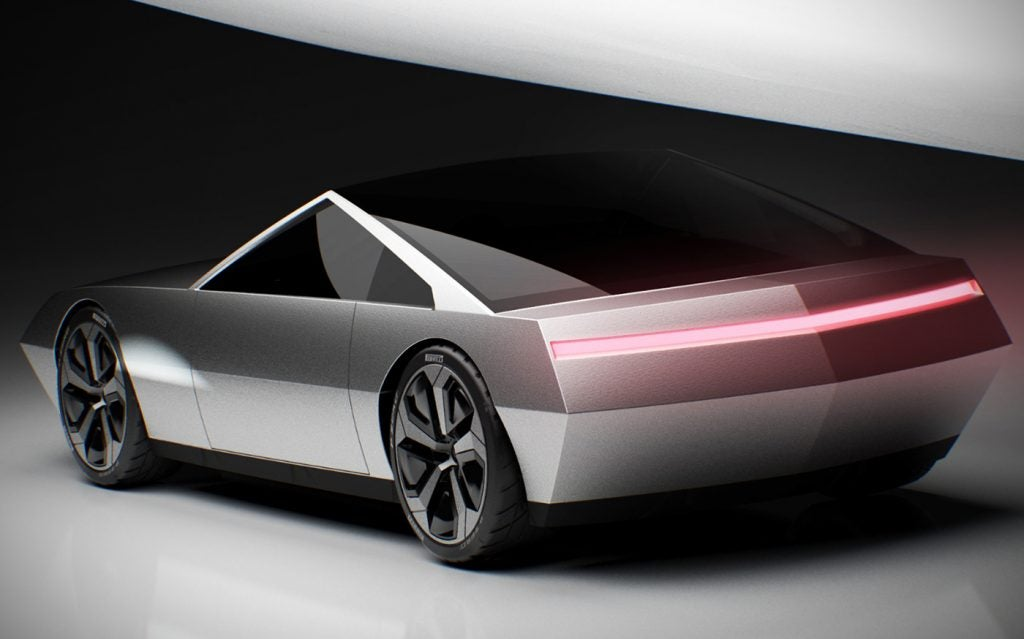 Tesla Cyber Roadster concept desing (rear side view, rear expanded light-slit).