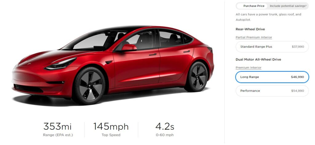 2021 Tesla Model 3 with 353 miles of extended range.