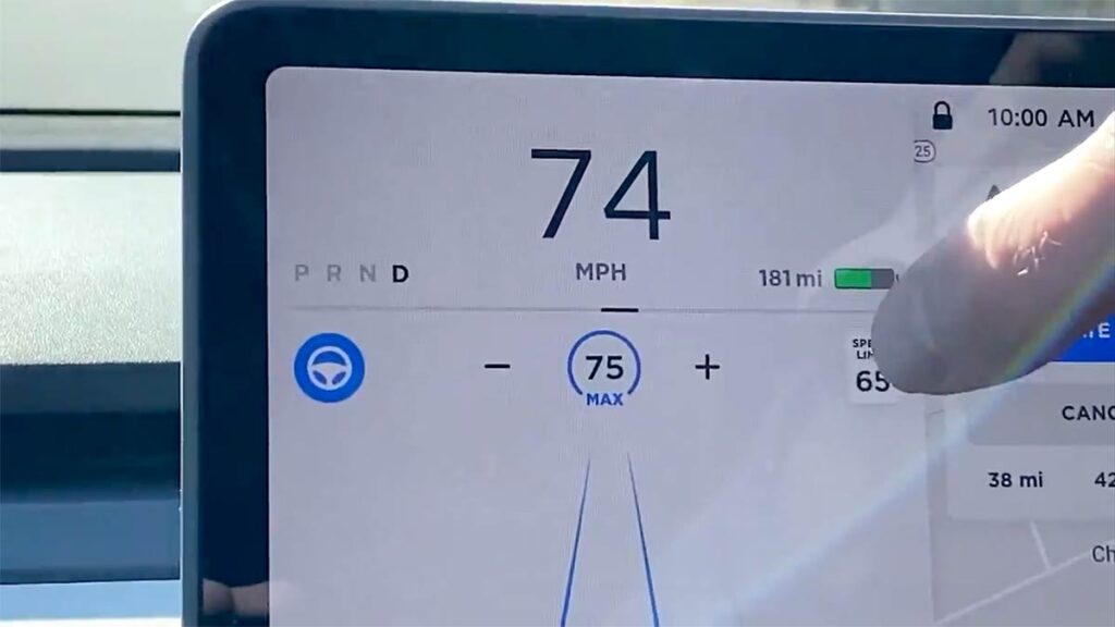 Tap the Speed Limit sign on the Tesla Model 3/Y touchscreen to adjust to highway speeds.