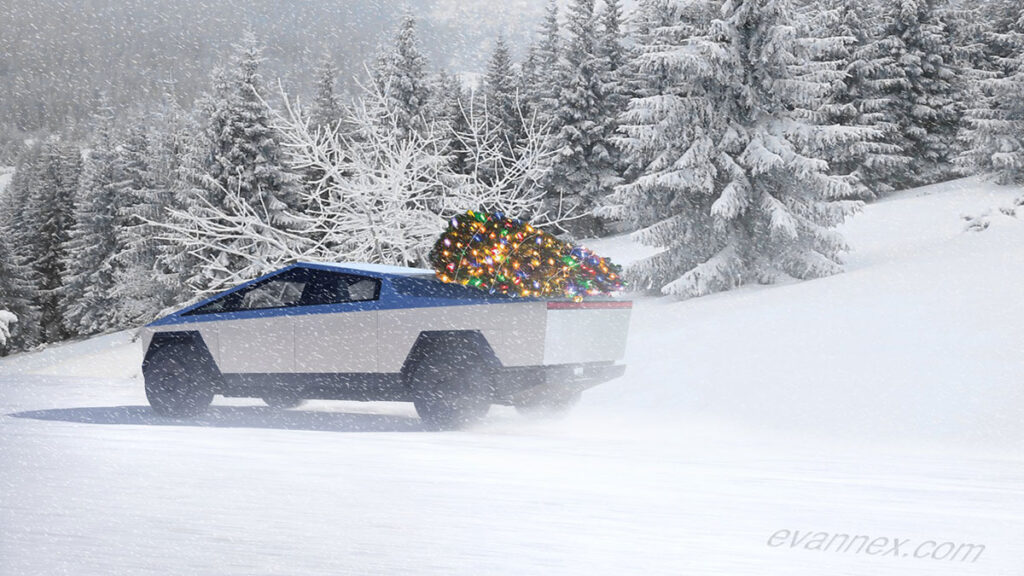 Tesla Cybertruck in snow with Christmas gifts.