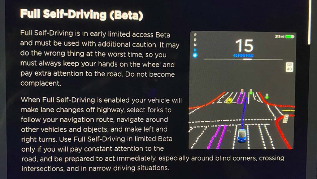 Tesla Full Self-Driving Beta release notes and visualization preview.