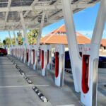 Tesla Supercharger station in Firebaugh, Calfornia.