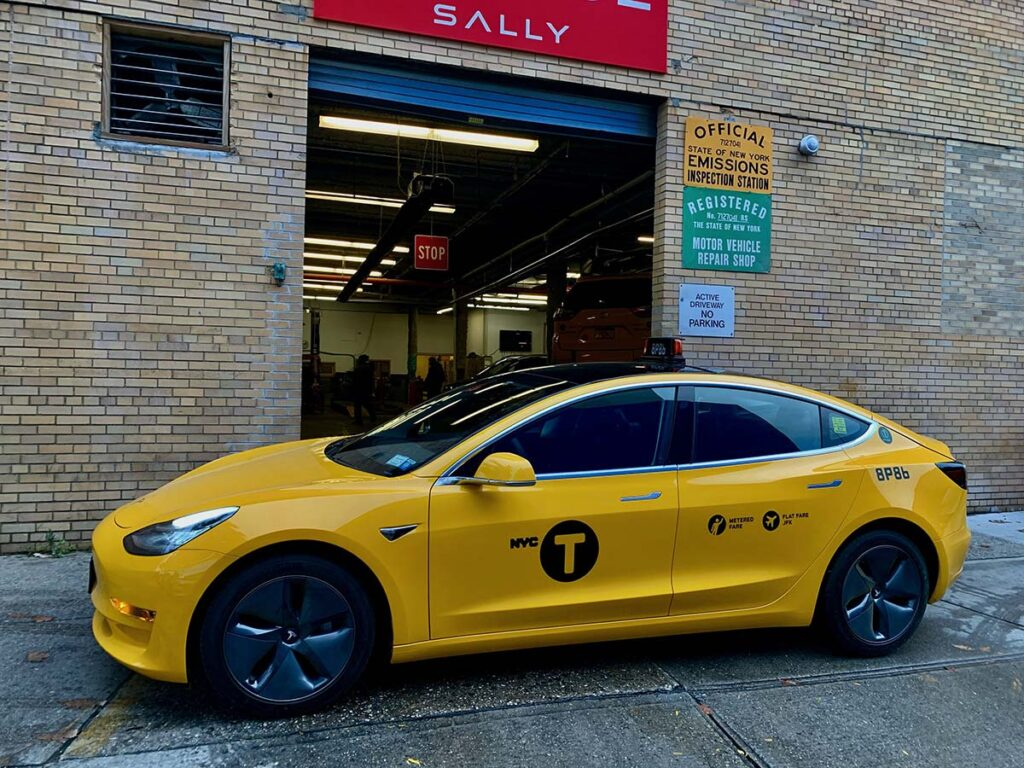 Tesla Model 3 yellow cab from NYC.