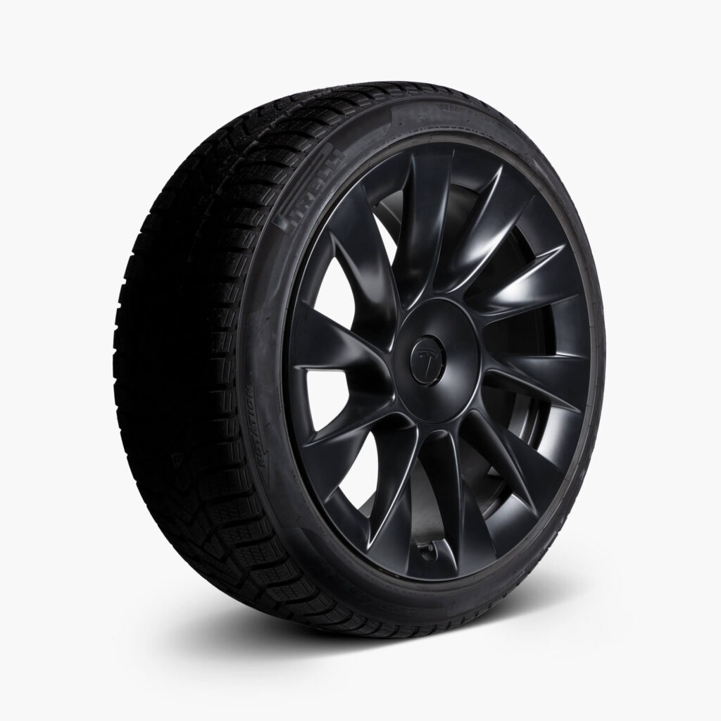 """Tesla Model Y 20"""" Induction Wheel and Winter Tire Package (Side View)"""