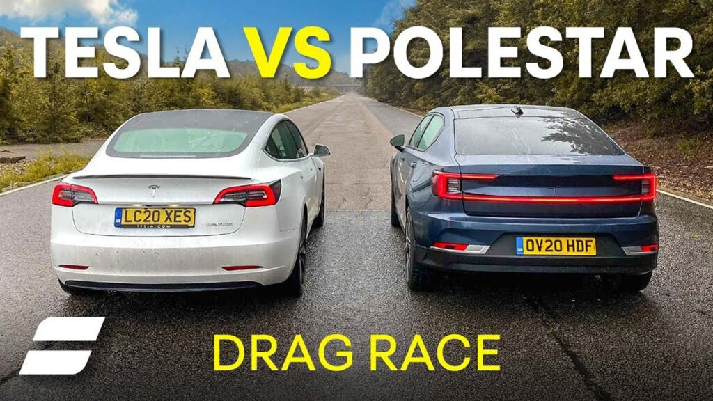Tesla Model 3 and Polestar 2 EVs side-by-side before the drag race starts (rear view).