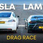 Tesla Model S Performance vs. Lamborghini Huracan Performante drag race.