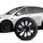 Tesla Model Y induction wheel with winter tire package.