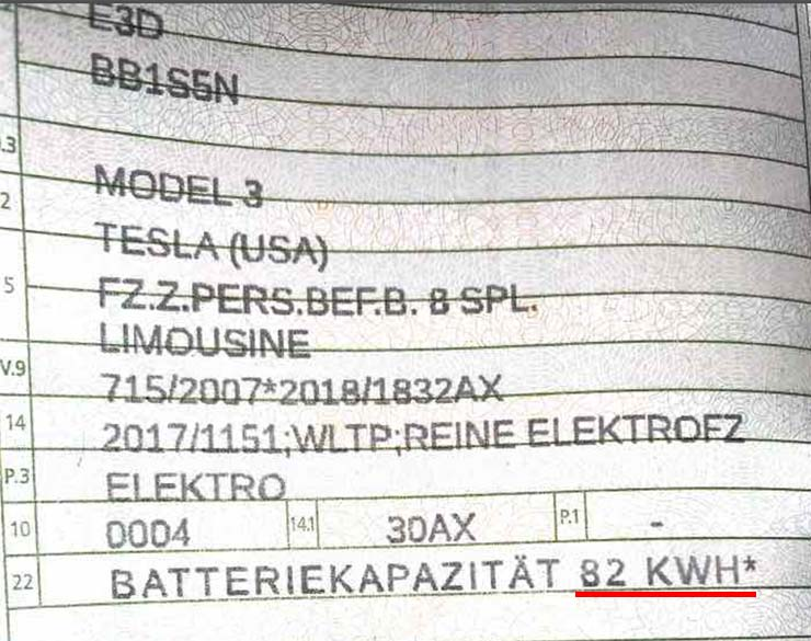 Documented proof of the 2021 Tesla Model 3 having an 82 kWh battery pack.