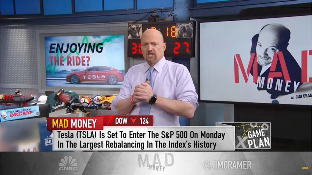 Jim Cramer discussing Tesla's (TSLA) inclusion in the S&P 500 Index today.