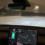 Tesla Model 3 snow drifting using Track Mode (video captured from inside of the car).