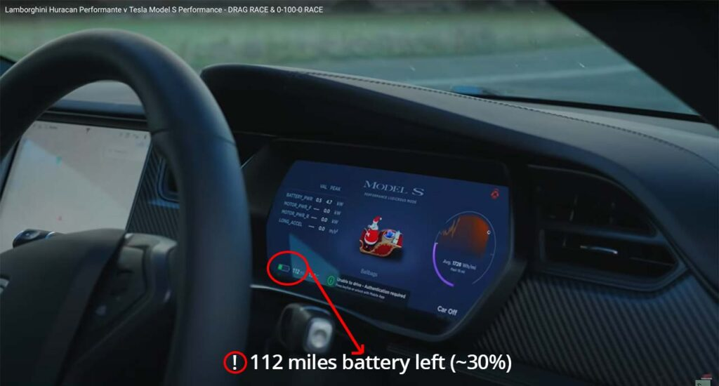Tesla Model S state-of-charge shown before the previous drag race against the Lamborghini Huracán Performante.