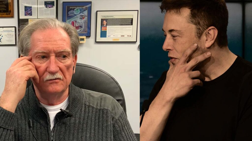 Sandy Munro and Elon Musk both thinking.