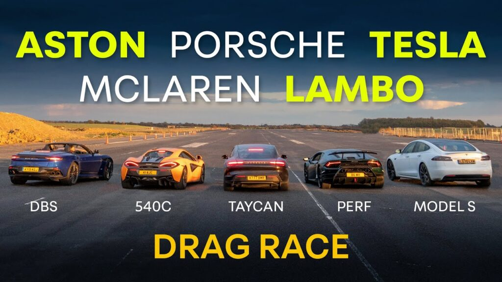 Tesla Model S vs. Aston Martin DBS, Lamborghini Huracán, McLaren, and Porsche Taycan drag race (video in the article).