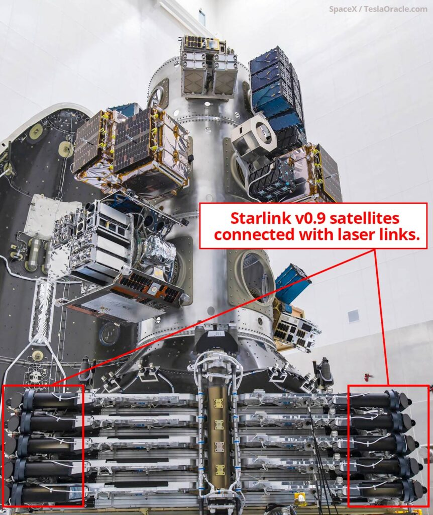 SpaceX SmallSat satellite stack with 10 Starlink satellites showing the laser linking.