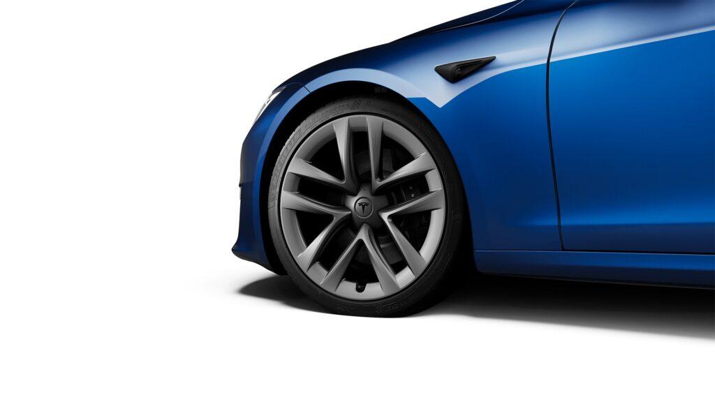 "2021 Tesla Model S 21"" Arachnid Wheels and tires package ($4,500)."