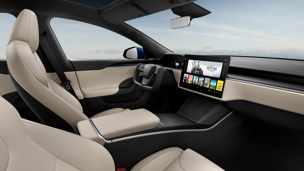 2021 Tesla Model S Cream Interior.