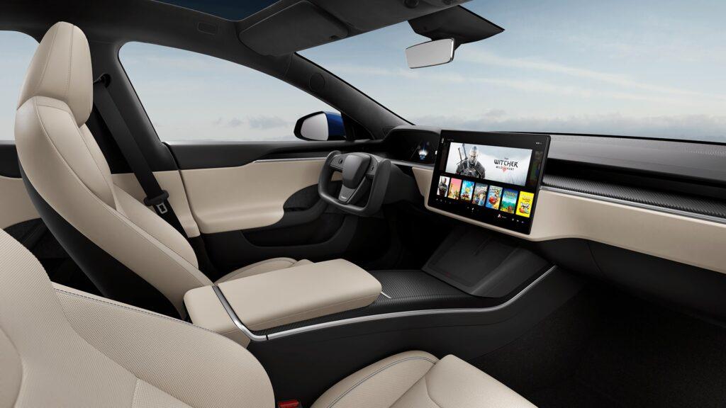 2021 Tesla Model S Cream Interior.