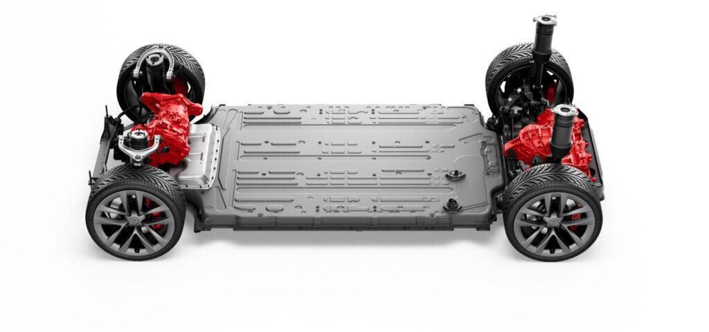 Tesla Model S Plaid Tri-Motor Powertrain skateboard.