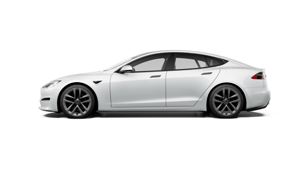 Tesla Model S Plaid side view profile in white color.