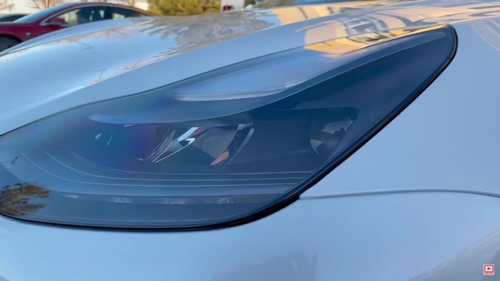 The new and improved 2021 Tesla Model 3 headlight.
