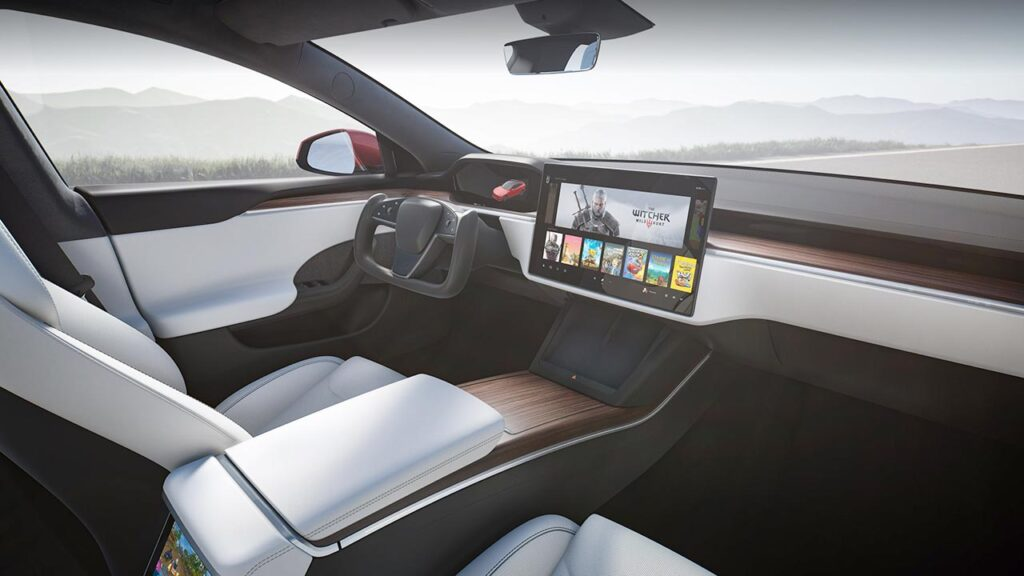 2021 Tesla Model S interior with wood trim décor.