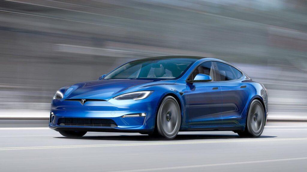 2021 Tesla Model S design refresh model in blue color.