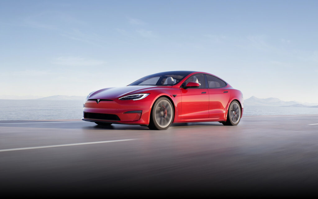 2021 Tesla Model S with design refresh and chrome trim in Multi-Coat Red color.
