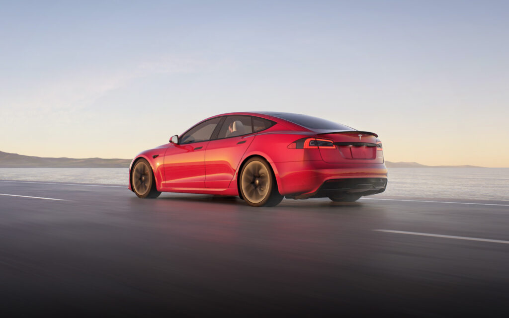 2021 Tesla Model S with refreshed exterior design (rear view).
