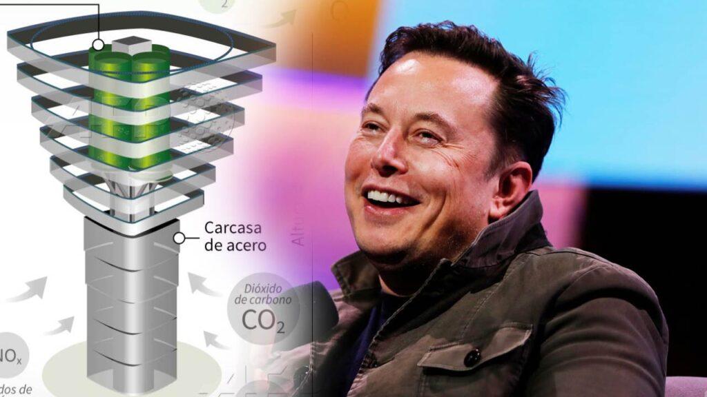 Elon Musk and a carbon capture robot.