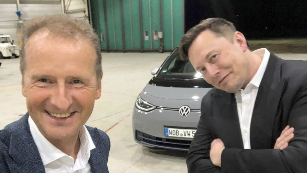VW CEO Herbert Diess and Tesla CEO Elon Musk together in Germany, testing the Volkswagen ID.3.