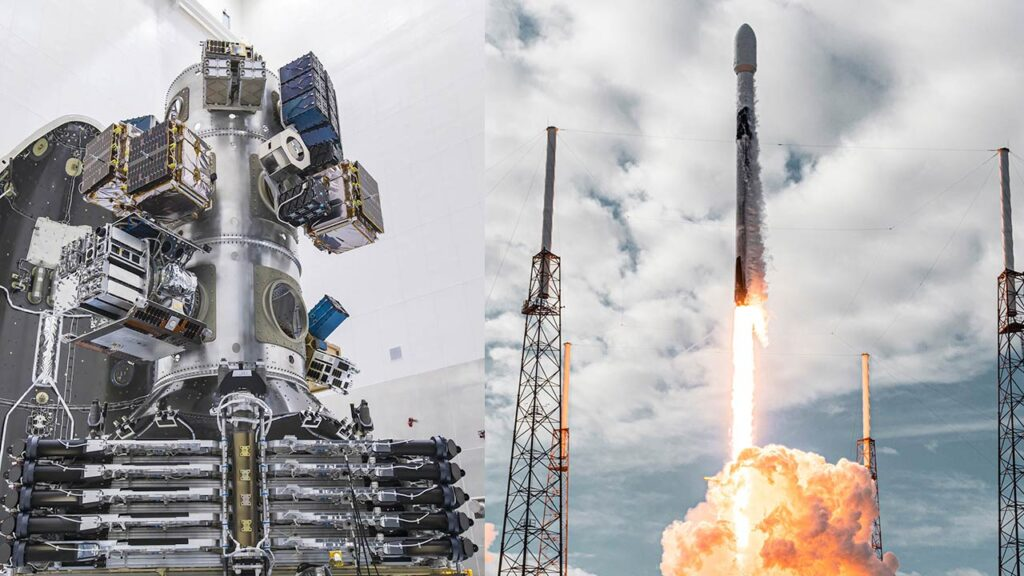 SpaceX Falcon 9 launching with record number of satellites on a single mission.